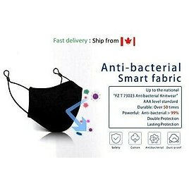 Reusable Face Mask Cover Black Cloth Washable 50x Adjustable Fast Ships Canada