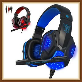 3.5mm LED Gaming Headset Mic Headphones Stereo Bass Surround For PC Xbox One PS4