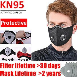Sport Reusable Mouth Mask With Breath Valve + 10PCs Activated Carbon Filters Pad