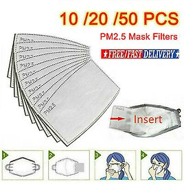 10-50 PCS Mask Filter Paper PM2.5 Activated Carbon 5-ply Face Mask Replacements