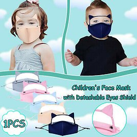 Kids Washable Protect Face Mask with Detachable Eyes Shield