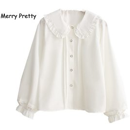 US $14.23 27% OFF|Merry Pretty White Blouse Women Long Sleeve Cotton Womens Tops and Blouses Sweet Peter Pan Collar Girl Blusas Mujer De Moda 2020|Blouses & Shirts| - AliExpress