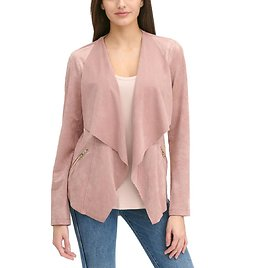 Open Front Faux-Suede Cardigan - Wilsons Leather