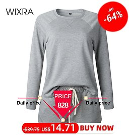 Wixra Womens Suits Leisure Home Wear Suit Long Sleeve Tops+Lace-up Shorts Womens Casual 2 Piece Sets Summer