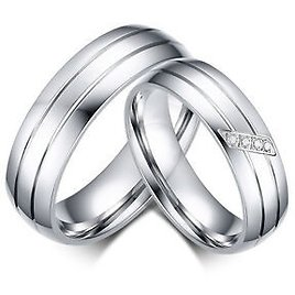 Silver Wedding Band Couple Stainless Steel Engagement Ring Women/Men's Size 6-13
