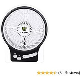 LETTON Portable Mini USB Fan Rechargeable Battery with 3 Speed LED Light for Home-White