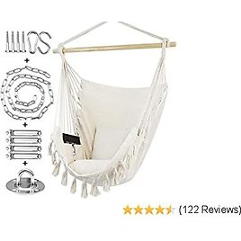 30%OFF WBHome Hammock Chair Swing with Hanging Hardware Kit- Beige, Cotton Canvas, Include Carry Bag & Two Seat Cushions