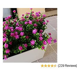50%OFFYXYQR Artificial Flowers Outdoor UV Resistant Fake Plastic Plants Outside Indoor Hanging Faux Greenery Shrubs Arrangement