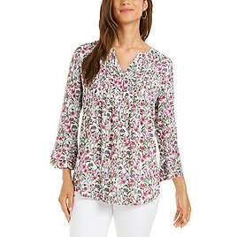 Charter Club Floral-Print Pleated Top, Created for Macy's & Reviews - Tops - Women