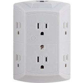 GE 6-Outlet Wall Plug Adapter Power Strip