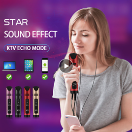 Online Star Live Streaming & Youtube Video Condenser Microphone Sing Recording Karaoke For Mobile Phone Computer Support 6 Voice