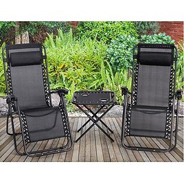 Zero Gravity 3-Piece Reclining Lounge Chairs and Table Set