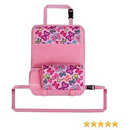 Ava & Kings Kids Backseat Organizer Large Car Mesh Auto Seat Cover Protector Storage Tray & Pouch for Toddlers, Babies, Infants W/Tablet Smartphone Toys Movies Bottles Holder - Pink Butterfly