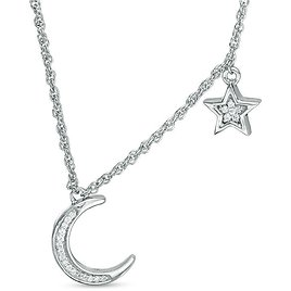 1/15 CT. T.W. Diamond Crescent Moon and Star Necklace in Sterling Silver