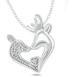 Diamond Accent Tilted Deer Heart Pendant in Sterling Silver