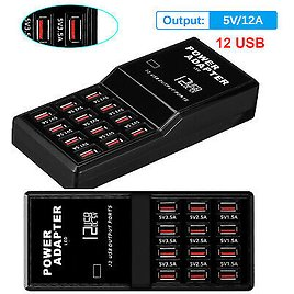 Multi 12 Port Fast USB Charging Station Hub Desktop Wall Cell Phone Charger