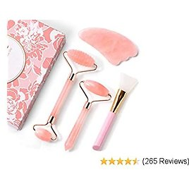 PaiTree 4-Pack Jade Roller Face Roller and Gua Sha Set for Neck, Body, Face, Natural Rose Quartz Anti-Aging Massager to Repair Skin, Reduce Puffy Eyes, Dark Circles,Wrinkles and Fine Lines