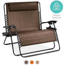 Double Wide Zero Gravity Chair Lounger w/ Cup Holders