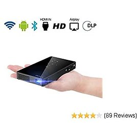PTVDISPLAY Pocket Portable Mini Projector, 1080P Pico Bluetooth Video WiFi DLP Projector HD Support Android 7.1 HDMI USB TF Card for Home Cinema , Wireless Display for IPhone Home Projector