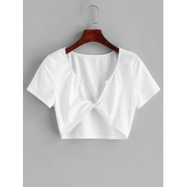 ZAFUL Twist Front Solid Cropped Tee