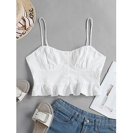 ZAFUL Buttoned Crop Solid Cami Top