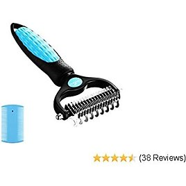 Petnurse Pet Grooming Brush - Dematting Comb for Easy Mats & Tangles Removing - No More Nasty Shedding and Flying Hair