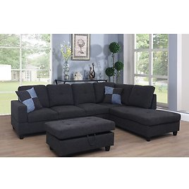 """(2 Colours) Mendoza 103.5"""" Right Hand Facing Sectional with Ottoman"""