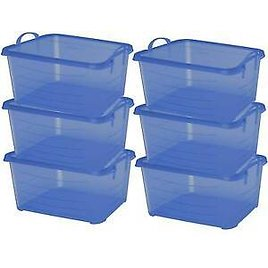Life Story Blue 55 Quart Stackable Closet Storage Box Containers Totes (6 Pack)