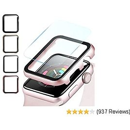 Fohuas Compatible Apple Watch Metal Case with Screen Protector 44mm, Impact Resistant HD Clear Air Bubble Free IPhone Watch Cover Hard PC Ultra-Thin Plating Bumper (Rose Gold, Series 5 4 44mm)