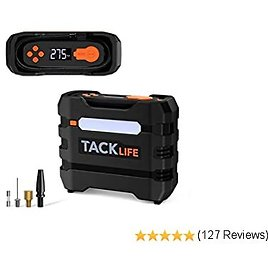 TACKLIFE Portable Tire Inflator Air Compressor, 12V Mini Electric Pump with Overheating Protection, LCD Display, LED Light, 3 Nozzles and Spare Fuse