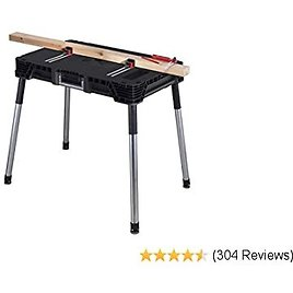 KETER Jobmade Portable Work Bench and Miter Saw Table for Woodworking Tools and Accessories with Included Wood Clamps – Removable Table Legs for Easy Garage Storage