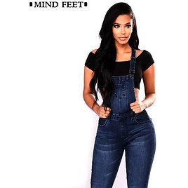 MIND FEET Straps Jeans For Women Basic Classic Dark Blue Female Denim Pants Ripped Hole Stretch Rompers Jumpsuit Jeans Overalls