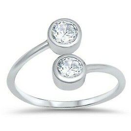 Toe Ring Genuine Sterling Silver 925 Clear CZ Jewelry Face Height 9 Mm