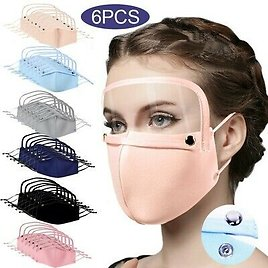 6PCS Adult Reusable Protect Face Mask with Detachable Eyes Shield