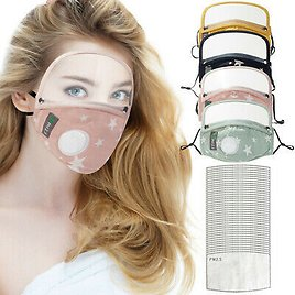 Cotton Windproof Outdoor Face Protective Face Mask with Eyes Shield + 10 Filters