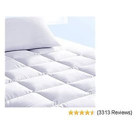 Pure Brands Mattress Topper and Pad Cover, Extra Thick | Luxury Down Alternative Pillow Top Cooling Bed Topper | Ultra Plush and Hypoallergenic Mattress Protector | 18 Inch Deep Pocket | Queen Size