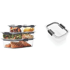 Rubbermaid Brilliance Leak-Proof Food Storage Containers with Airtight Lids, Set of 5 (10 Pieces Total) + 4.7 Cup Container