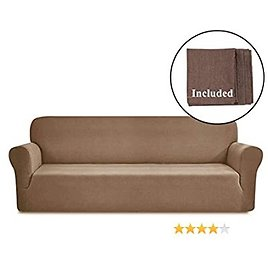 SuperMee Sofa Covers for 4 Cushion Couch Slipcovers for Sofas with Tablecloth Sofa Covers for Livingroom Sofa Protector Cover Stretch Sofa Cover Jacquard Fabric 1 Piece (Chocolate, 73-101 In)