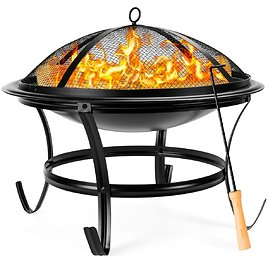 Steel Outdoor Patio Fire Pit Bowl w/ Screen Cover