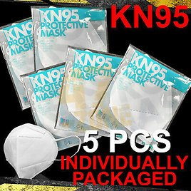 5x Individual Pkg KN95 Face Mask Cover 5Layer Disposable Respirator Safety Cover