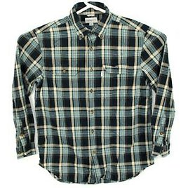 Mens Carhartt Relaxed Fit Blue Plaid Long Sleeve Button Down Shirt Size Large
