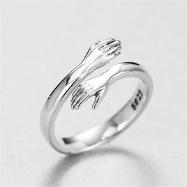 US $1.29 59% OFF|Creative Love Hug Silver Color Ring Fashion Lady Open Ring Jewelry Gifts for Lovers|Rings| - AliExpress