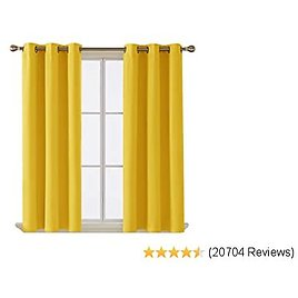 Deconovo Room Darkening Thermal Insulated Blackout Grommet Window Curtain for Living Room,Mellow Yellow,42x63-inch,1 Panel