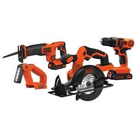 BLACK+DECKER 20-Volt MAX Lithium-Ion Cordless Combo Kit (4-Tool) with (2) Batteries 1.5Ah and Charger-BD4KITCDCRL