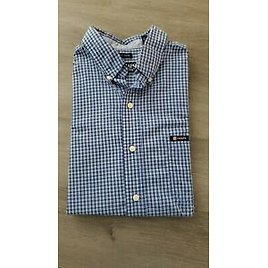 Chaps Mens Easy Care Blue Check Short Sleeve Button Down Shirt Size Large