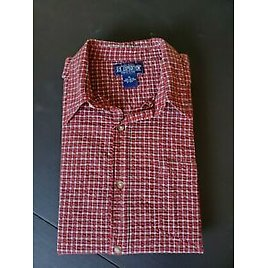 US Expedition Men's Short Sleeve Button Down Red Shirt Size XL VGUC