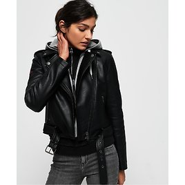 Superdry PU Hooded Biker Jacket - Womens Sale - All Sites - View All