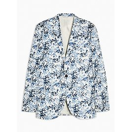 Blue Floral Print Skinny Fit Single Breasted Suit Blazer With Notch Lapels