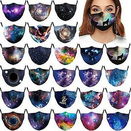Mouth Face Mask Washable Adult Reusable Mask Black Hole Wolf Howling Galaxy