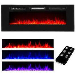 """50"""" Electric Fireplace Recessed Insert or Wall Mounted Standing Electric Heater"""